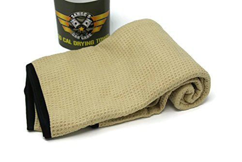 Sarge's Car Care 50 CAL CAR DRYING TOWEL – XL-Size (27 in x 39 in) – Premium Silk Bound Waffle Weave Microfiber for Maximum Absorption – Bound in Silk to Deliver a Durable Snag-free & Tear-free Towel