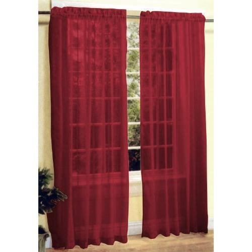 2 Pc Sheer Voile Window Curtain Panel Set Burgundy
