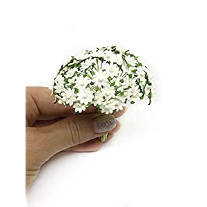 1cm White Paper Daisies, Mulberry Paper Flowers, Miniature Flowers For Crafts, Mulberry Paper Daisy, Paper Flower, Artificial Flowers, 50 Pieces 3