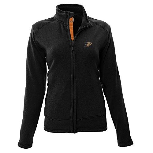 Quarter Zip Bonded Fleece (NHL Anaheim Ducks Adult Women Tranquil Insignia Icon Heather Full Zip Jacket, Medium, Black)