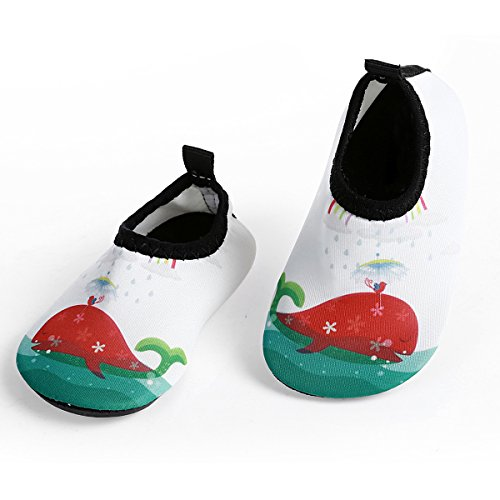 L-RUN Kids Water Shoes Swim Skin Aqua Socks Light White US 12-18 Months=EU 19-20
