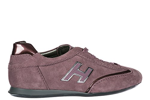 Hogan Chaussures Sneakers Femme Chamois New Olympia H Flock Purple