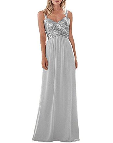 Empire Straps Chiffin Line Sliver Dresses Party Long 2 Women's Wedding Sequins Bridesmaid Back A Dress Open gwUqngar