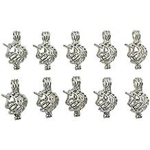 10pcs Silver Unicorn Animal Shape Small Pearl Bead Cage Pendant Locket Jewelry Necklace Bracelet Making