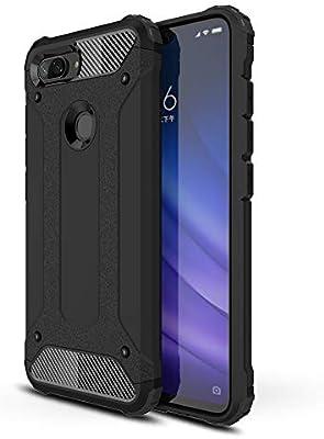 AOBOK Funda Xiaomi Mi 8 Lite, Negro Moda Armadura Híbrida Carcasa ...