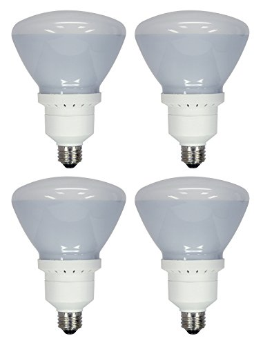 - Set of 4 GE Indoor Floodlight Compact Fluorescent Bulbs - Replaces 90W - R40-26W - 1170 Lumens - 6500K (63518)