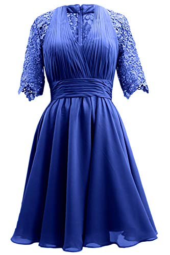 Women Gown Royal Mother of Evening Wedding Bride Lace MACloth Blue Dress Party Sleeve Short 0dqWawZ