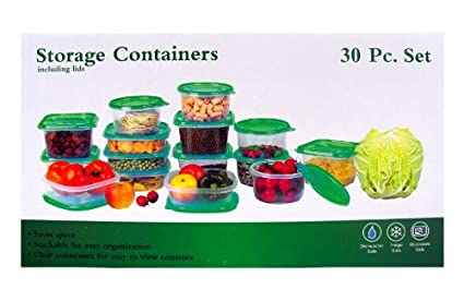 Amazoncom 30 Piece Plastic Food Container Set 15 Plastic Storage