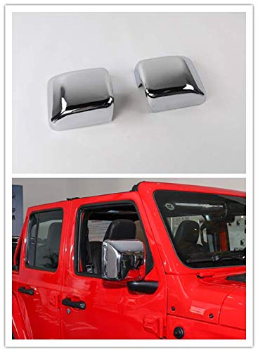 Highitem Car Mirror Covers Rearview Mirror Cover Shell Stickers for Jeep Wrangler JL 2018 Up (Silver Chrome)