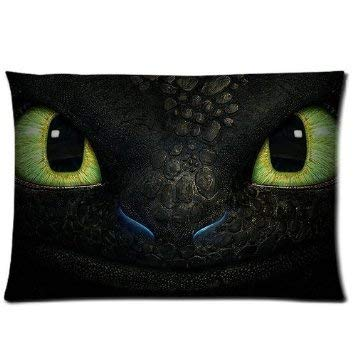 How to Train Your Dragon Night Fury Face Home Decorative Soft Throw Pillowcase Cushion Custom Pillow Case Cover Protecter with Zipper Standard Size 20x30 Inches Two Sides Printed