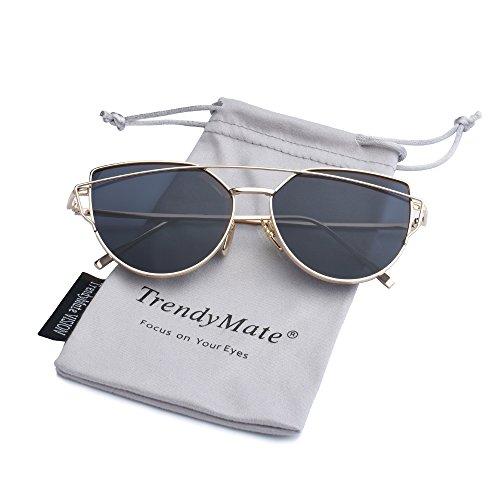 TrendyMate-Womens Street Fashion Metal Twin Beam Flat Mirror Lens Cat Eye Sunglasses … (Gold/Grey, 57mm)