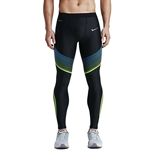 NIKE Men's GYAKUSOU DRY POWER SPEED Black Blue TIGHTS (X-Large, Black/Green/Blue)