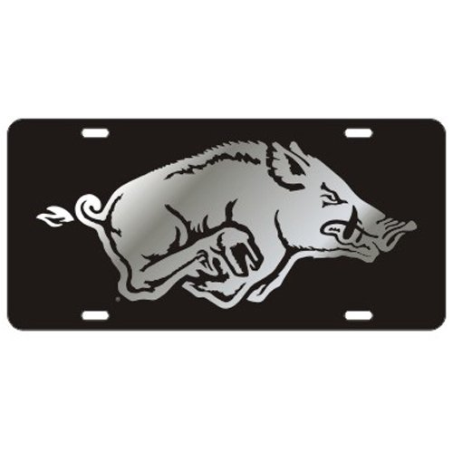 Arkansas Razorbacks Black w/Mirror Logo Laser Cut License Plate