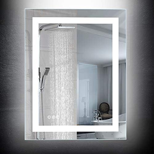 CASAMII 28×36 inch Led Lighted Wall Mounted Bathroom Vanity Mirror,Brightness Adjustable Anti Fog Switch UL Listed 6000K White 6540 Lumen Vertical Horizontal IP44 Waterproof