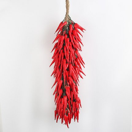 sexyrobot Artificial Fake Vegetable, Lifelike Red Chili Fake Peppers Strings Hanging for Home Christmas Wall Decor-10 Strings ()