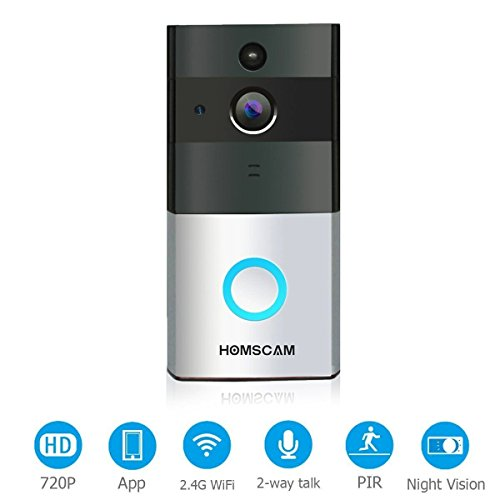 Video Doorbell, HOMSCAM Wireless Door Bell Smart WiFi Camera Video Doorbell Security Camera with PIR Motion Detection 720P HD, Real-Time Two-Way Talk and Video, Night Vision ( Built-in 8G Card )