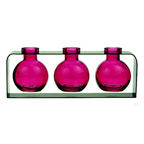 Decorative Vase, Colored Glass Bottles, Flower Vases, Bud Glass Vases G170F Fuchsia ~ 3 Ball Bottles with Stand ~ Rooting Vase, Cheap Vases, Colored Glass Vases, Small Vases, Floral Vases (Glass Colored Cheap Vases)