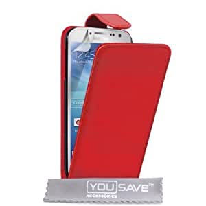 Viesrod Samsung Galaxy S4 Case Red PU Leather Flip Cover