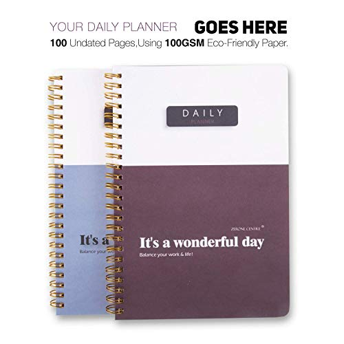 A5 Daily to-Do Planner Notepad by ZERONE CENTRE - Premium Personal Planner Organizer, Home and Office Work Journal, 100 Pages for Daily Tasks, Notes, Water Intake and Meal Planner- Dark Wine Red
