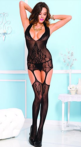 Print Garter (Music Legs Women's Floral Vines Print Garter Dress With Attached Stockings, Black, One Size)