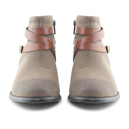 Footwear Sensation - Botas para mujer - Khaki Low Heel Chelsea Boots
