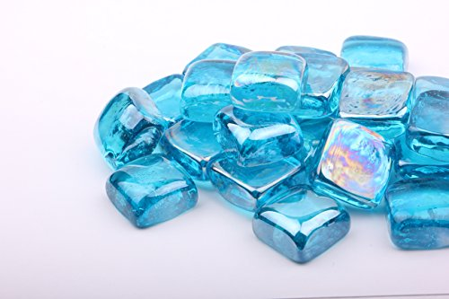 AKOYA Outdoor Essentials 10-Pound Fire Glass Cubes Squares 1-inch Reflective Tempered Crystal Beads for Fire Pit (10 lbs - 1 inch, Caribbean Blue) by AKOYA Outdoor Essentials