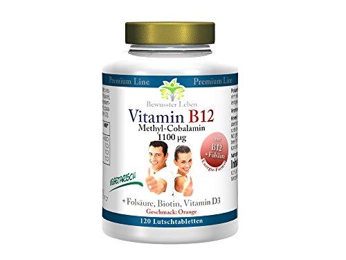 Biomenta Vitamin B12 vegetarisch - AKTIONSPREIS!!! - 120 Lutschtabletten mit Vitamin B12 Methylcobalamin (1100 µg Tagesdosis) + Vitamin D3, Folsäure und Biotin, hochdosierte Vitamin Komplex Tabletten zuckerfrei mit Orangen Geschmack (100% Made in Germany)