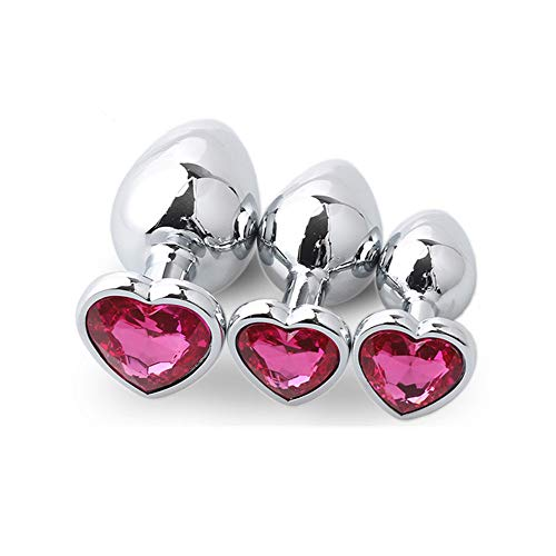 3 PCS Pink Jeweled Heart Shape Woman Accessories -