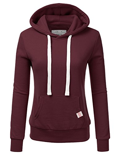 NINEXIS Womens Long Sleeve Fleece Pullover Hoodie Sweatshirts Maroon ()