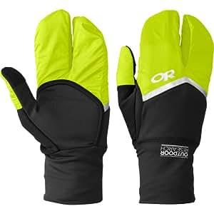 Outdoor Research Hot Pursuit Convertible Running Gloves, Black/Lemongrass, X-Small