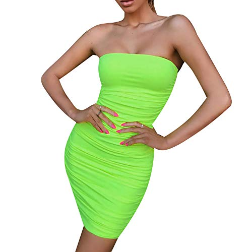 (ECHOINE Women's Sexy Bodycon Dresses Stretch Tube Strapless Party Mini Clubwear Slim Fit Green M)