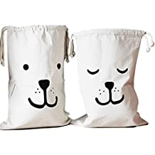 Toy Storage Bag,Amytalk 2Pcs Canvas Laundry Bag Basket Organizers for Kids Toys, Baby Clothing, Children Books, Gift Baskets