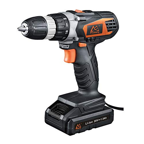"""Cordless Drill, Power Drill Driver 20V with 1x1.5Ah Batteries, Fast Charger 1.3A, 18+1 Torque Setting, 2-Variable Speed Max Torque 250 In-lbs, 3/8"""" Keyless Chuck"""