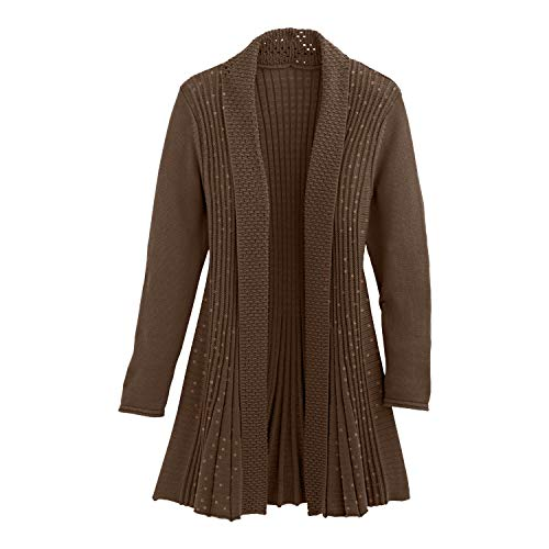 (Cardigans for Women Long Sleeve Swingy Midweight Sequin Cardigan Sweater W/Pocket-Brown)