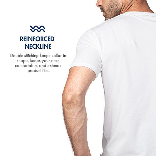 Premium E Slim –cotone Maglietta T Flessibile Els Da shirt Pacco 2 Girocollo Uomo Maniche Corte Fit Lapasa M05 Bianco Soffice wAx7qg86