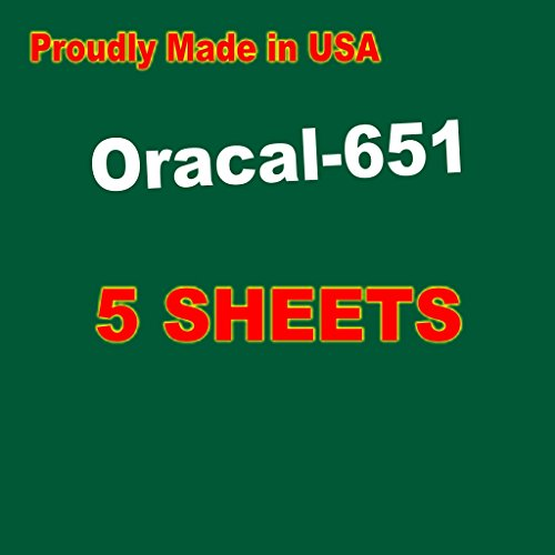 5 Sheets Oracal 651 Permanent, Adhesive Backed, Craft Vinyl Sheets 12'x12' Make Monograms Stickers Decals and Signs (Dark Green)
