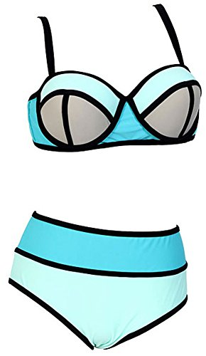 Women's Plus Colorful High Waisted Diving Suit Neoprene Push up Bikini Swimsuit Sky Blue US XL
