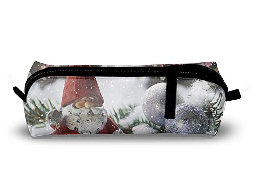 Figurines Santa Pencil (Santa Claus Figurine Pencil Holder Pencil Pouch Bag Stationery Pen Case Box with Zipper Closure 8.3 x 2.1 x 2 Inch)