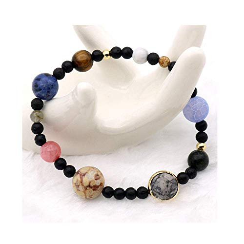 Friendshiy Solar System Universe Stars Natural Stones Beaded Stretch Bracelets Saturn Pluto Earth Moon