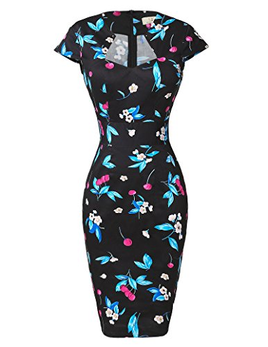 50's Floral Knee Length Vintage Dresses Cap Sleeve Pencil Dress S CL7597-6 ()
