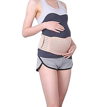 Maternity Belt Pelvic Support Pregnancy Back Support-Breathable Abdominal Binder Brace- One Size Beige