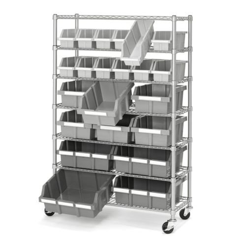 Commercial Garage Rolling 22 Bin Storage Rack Steel Frame Shelving Unit 4 Wheels by Balance World Inc