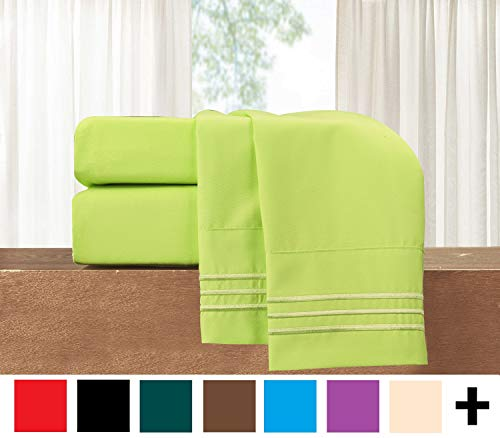 - Elegant Comfort  4-Piece Sheet Set-Luxury Bedding 1500 Thread Count Egyptian Quality Wrinkle and Fade Resistant Hypoallergenic Cool & Breathable, Easy Elastic Fitted, Queen, Neon Green