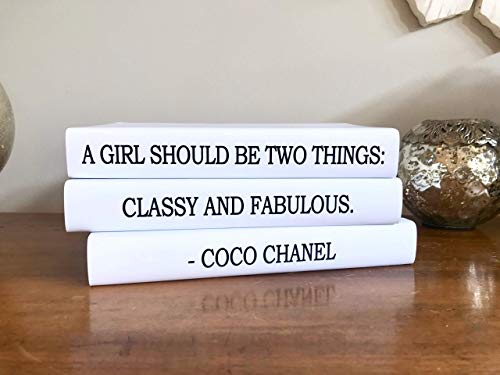 Fashion Designer Quote Classy and Fabulous Decorative Book Set, Fashion Designer Quote Books, Fashion Design Book Stack, Coffee Table Books Hardcover, Home Decor