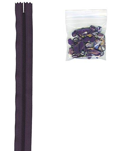 Handbag Annie - Patterns ByAnnie 4 Yards of 16mm #4.5 Zipper Chain and 16 Ex-Large Eggplant