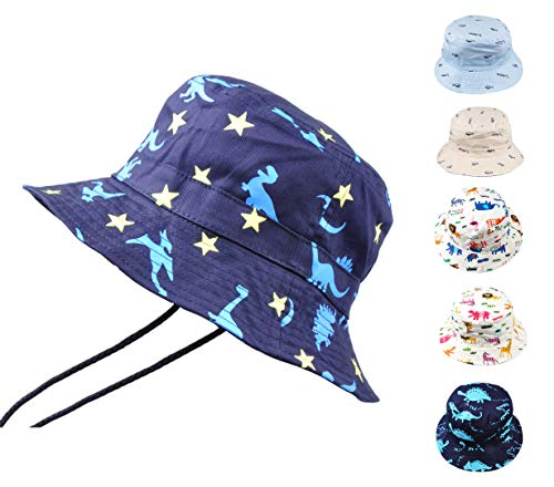 Baby Toddler Kids Animal Breathable Bucket Hat Soft Cotton Sun Ray Protective Hat Adjustable for Grow with Chin Strap 1-2 Years-Small Dinosaur