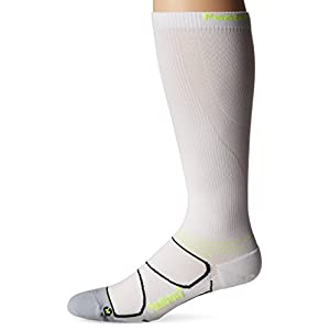Feetures! Men's Graduated Compression Knee High, White + Reflector, Sock Size:10-13/Shoe Size: 6-12