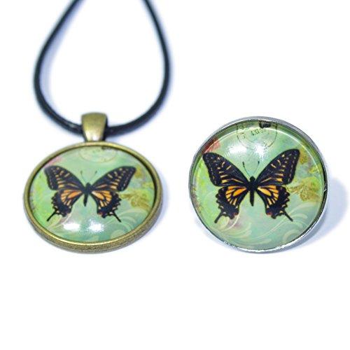 Soleebee Cuir Alliage mode Collier Chaîne Verre Pendentif Bijoux avec bague pour femmes (papillon 3)