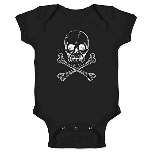 Skull and Cross Bones Black 6M Infant Bodysuit
