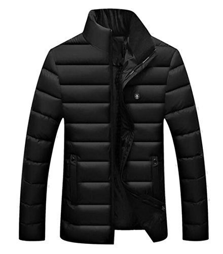 today-UK Men Winter Warm Solid Color Stand Neck Full-Zip Down Jacket Coat Black
